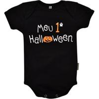 Body Manga Curta Bebê Nigambi Meu 1º Halloween Masculino - Masculino-Preto