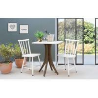 Conjunto Mesa Bistrô Com 2 Cadeiras Quadrada Juliette - Nogueira E Branco