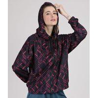 Jaqueta Corta Vento Feminina Esportiva Ace Estampada Geométrica Com Capuz E Bolsos Azul Escuro