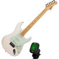Guitarra Woodstock Tagima Tg-530 Branco Vintage + Afinador Cs4 Nucleo