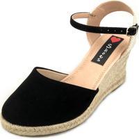 a0c10accb Sandália Anabela Love Shoes Espadrille Fechada Corda Preto