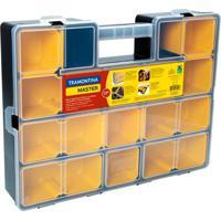 Maleta Plástica Organizadora Com Módulos Utility Preta E Amarela