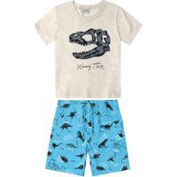 Conjunto Camiseta Com Bermuda Infantil Cinza