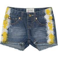 Short Jeans Estonado - Azul Escurolilica Ripilica E Tigor T. Tigre