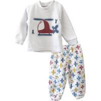 Pijama Infantil Dedeka Soft Helicóptero Que Brilha No Escuro Masculino - Masculino-Branco