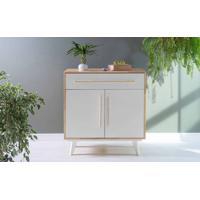 Armário De Cozinha Pequeno 2 Portas E Gaveta Celeste Natural E Branco 90X48X98 Cm