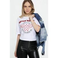 Blusa Estampa Mulher Maravilha Liga Da Justiça Feminina - Feminino-Branco