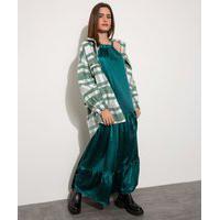 Vestido Slip Dress Feminino Mindset Longo Halter Neck Acetinado Com Recortes Verde