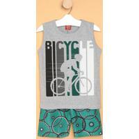 """Conjunto De Regata """"Bicycle"""" + Bermuda- Cinza & Verdekyly"""