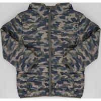 Jaqueta Infantil Puffer Estampada Camuflada Verde Militar