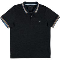 Camiseta Polo Com Retilínea Preto