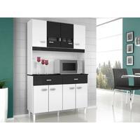 Cozinha 8 Portas Manu Branco/Preto - Lc Móveis