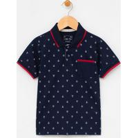 Camiseta Infantil Gola Polo Estampa De Barquinhos - Tam 1 A 4 Anos