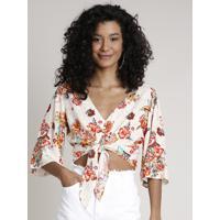 Blusa Feminina Cropped Estampada Floral Zodíaco Com Nó E Botões Manga Curta Decote V Off White