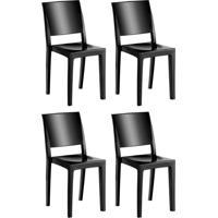 Conjunto Com 4 Cadeiras De Plástico Hydra Preto