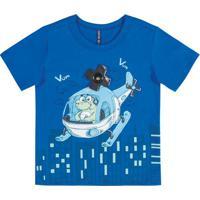 Camiseta Infantil Em Meia Malha Azul