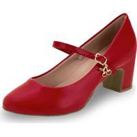 Sapato Feminino Salto Baixo Villa Rosa - 886188200 Vermelho 34