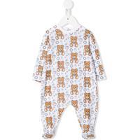 Moschino Kids Pijama Mangas Longas Com Estampa De Urso E Logo - Branco