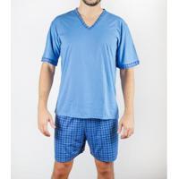 Pijama Gislal Shorts Manga Curta Verão Masculino - Masculino-Azul Claro