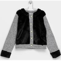 Casaco Infantil Marlan Tweed Feminino - Feminino-Mescla
