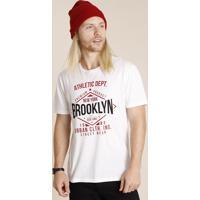 "Camiseta Masculina ""Brooklyn"" Manga Curta Gola Careca Branca"