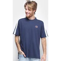 Camiseta Fila Faixa Masculina - Masculino-Marinho+Branco