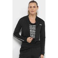 Jaqueta Cropped Adidas Oys Feminina - Feminino-Preto+Branco