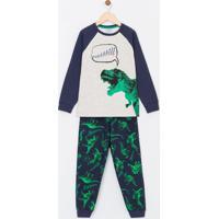 Pijama Infantil Em Moletom Estampa Dinossauro - Tam 5 A 14