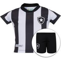 Kit De Uniforme De Futebol Do Botafogo Para Bebê: Camisa + Calção - Infantil - Branco/Preto