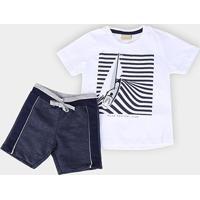 Conjunto Infantil Milon Nautical Club Masculino - Masculino-Branco