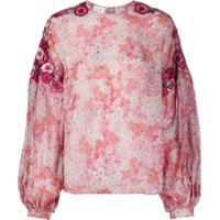 Giambattista Valli Blusa De Chiffon Com Estampa E Aplicação Floral - Rosa