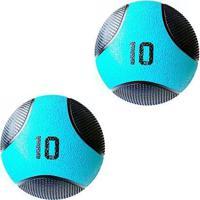 Kit 2 Medicine Ball Liveup Pro F 10 Kg Bola De Peso Treino Funcional - Unissex