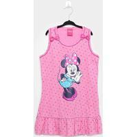 Camisola Infantil Disney Minnie Poá Regata - Feminino-Rosa