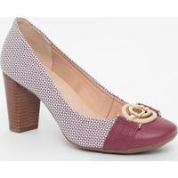 Sapato Em Couro Texturizado Com Aviamentos- Vinho & Branjorge Bischoff