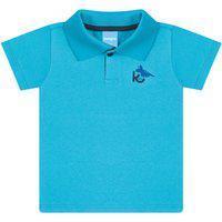 Camisa Polo Bebê Gola Retilínea - Azul