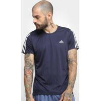 Camiseta Adidas Run 3S Masculina - Masculino-Marinho+Branco