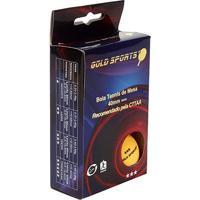 Caixa Com 6 Bolas Para Tenis De Mesa 3 Estrelas Gold Sports - Unissex