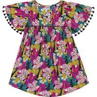 Vestido Nanai Manga Curta Multicolorido - Tricae