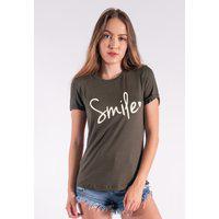 Blusa Nózinho Kaisan Com Silk Smile Verde Militar