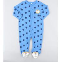 Macacão Infantil Leão Estampado De Estrelas Manga Longa Azul