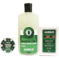 Kit Shampoo 250Ml + Sabonete 75G + Pomada Matte 65G - Gambler - Masculino-Incolor
