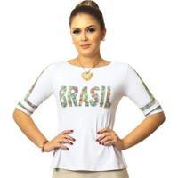 Blusa Ficalinda Meia Manga Estampa Copa Do Mundo Brasil 10 Evasê Feminina - Feminino-Branco
