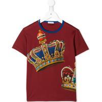 Dolce & Gabbana Kids Camiseta Com Estampa De Coroa - Vermelho