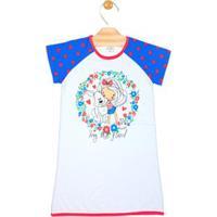 Camisola Infantil Tycaro - Feminino-Branco+Azul