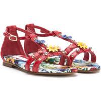 Dolce & Gabbana Kids Sandália De Couro Com Aplicação - Vermelho
