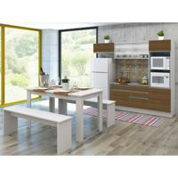 Cozinha Compacta Dalva 4 Peças Glamy Com Vidro 7 Portas E 2 Gavetas Branco E Rustic