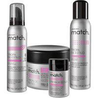 Combo Match Finalização: Mousse Modelador + Pomada Modeladora + Pó Volumador + Spray Fixador