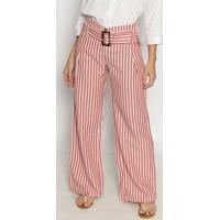 Calça Pantalona Listrada Com Linho- Off White & Vermelhadivina