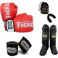 Kit Boxe Muay Thai Orion Luva Caneleira Bandagem Bucal 08 Oz - Unissex