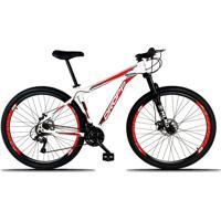Bicicleta Dropp Aro 29 Freio A Disco Mecânico Quadro 21 Alumínio 21 Marchas Branco Vermelho